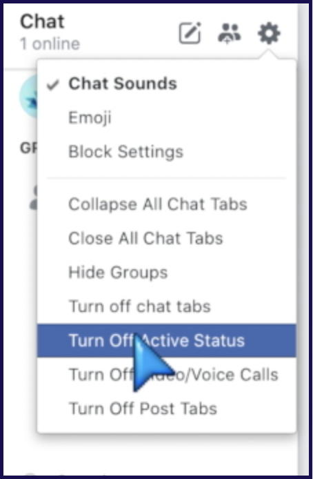Select 'Turn Off Active Status'