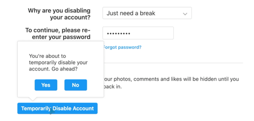 Confirm that you're ready to disable your account
