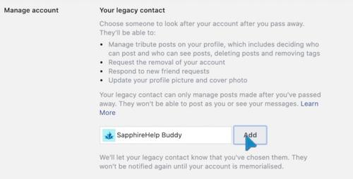 Adding a legacy contact