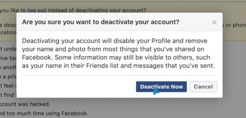 Deactivating your Facebook only takes a few minutes