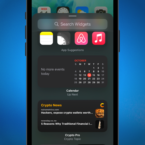 Scroll through the Widgets Gallery and select any Widget